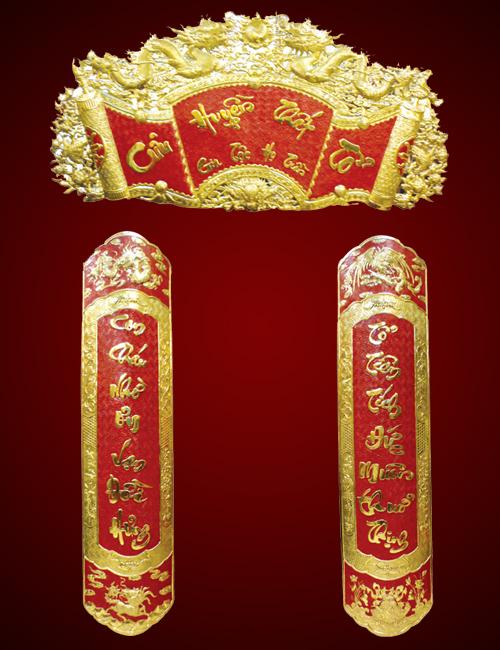Mẫu liễn treo ban thờ gia tiên đơn giản