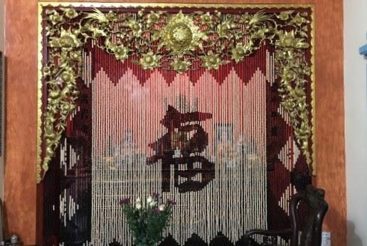 Rèm phòng thờ bằng hạt gỗ bồ đề